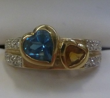 14K Yellow and Blue Topaz Hearts with Diamonds