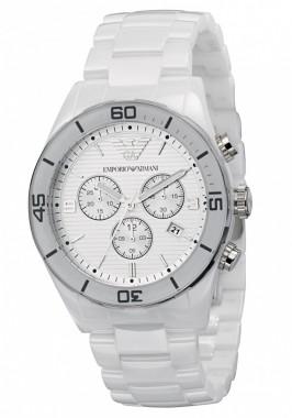 Emporio Armani Men's AR1424 White Ceramic Cronograph Watch