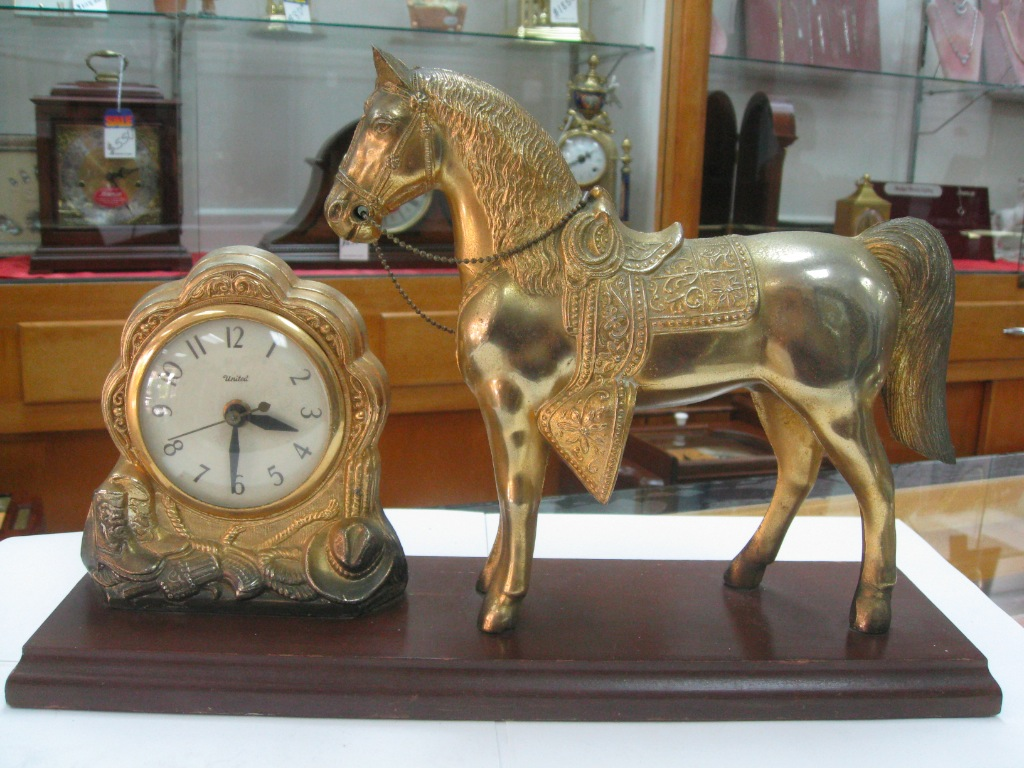 VINTAGE,ANTIQUE WESTERN AMERICANA, ELECTRIC, HORSE CLOCK , FOR MANTEL ... Images - Frompo