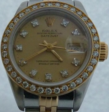 Ladies Rolex Oyster Perpetual Datejust Two Tone 18k/SS Diamond Bezel & Dial