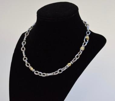 "Judith Ripka JR TWO Diamond Oval Link 18K Gold & Sterling Silver 16.25"" Necklace"