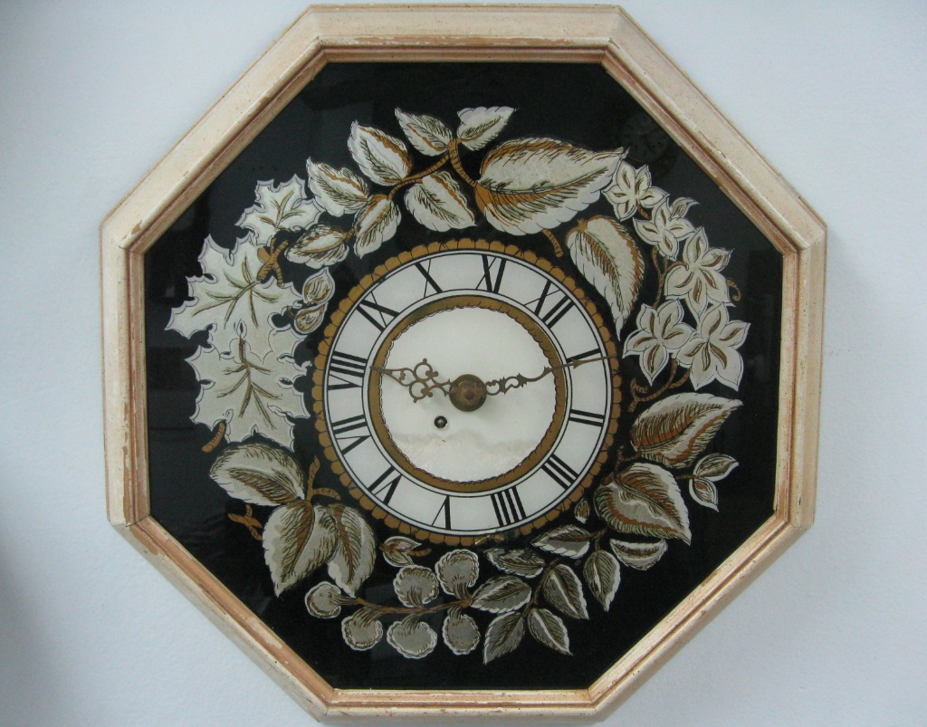 18 5 Inch Octagonal German Wall Clock Painted Glass Dial