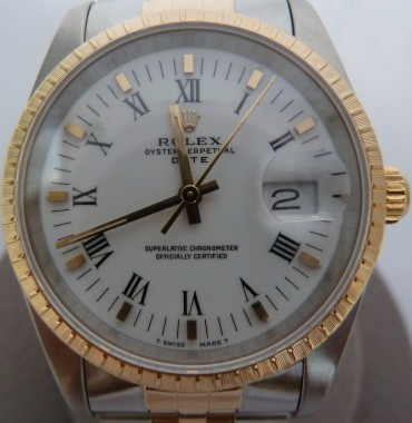 Mens Rolex Oyster Perpetual Date Two Tone 18K/Stainless Steel - Roman Numerals Dial